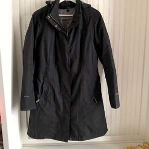 Eddie Bauer Black Long Winter Jacket with Removable quilted inside